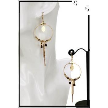 Boucles d'oreilles - Cercle fin - Perles - Chaînette - Pompon - Marron