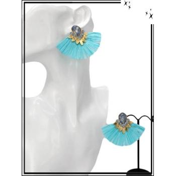 Boucles d'oreilles - Petit rafia - Turquoise