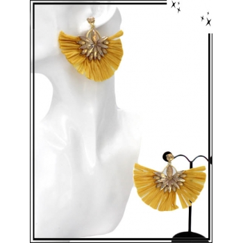 Boucles d'oreilles - Fleur bijoux - Rafia - Moutarde