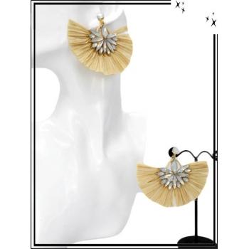 Boucles d'oreilles - Fleur bijoux - Rafia - Beige