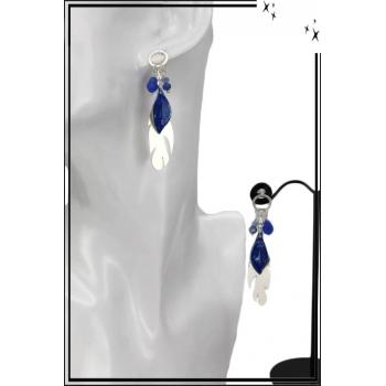 Boucles d'oreilles - Plume et feuille - Argent / Bleu