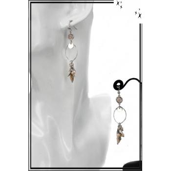 Boucles d'oreilles - Cercle fin - Perles - Beige