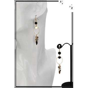 Boucles d'oreilles - Cercle fin - Perles - Noir