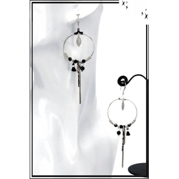 Boucles d'oreilles - Cercle fin - Perles - Chaînette - Pompon - Noir