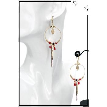 Boucles d'oreilles - Cercle fin - Perles - Chaînette - Pompon - Rouge