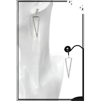 Boucles d'oreilles - Triangle pointe en bas - Strass - Argent