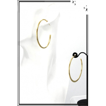 Boucles d'oreilles - Créole ouverte - 5,5 cm - Doré