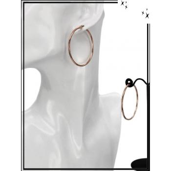 Boucles d'oreilles - Créole fermée - 4 cm - Cuivré