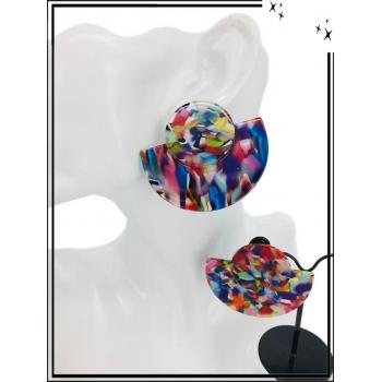 Boucles d'oreilles - Résine - Demi lune - Nuancé - Multicolor
