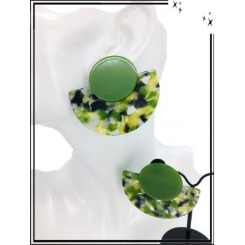 Boucles d'oreilles - Résine - Demi lune - Nuancé - Kaki