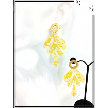 Boucles d'oreilles - Résine - Feuille - Nuancé - Blanc / Jaune