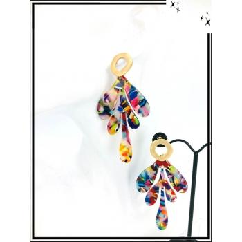Boucles d'oreilles - Résine - Feuille - Nuancé - Multicolor