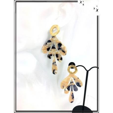 Boucles d'oreilles - Résine - Feuille - Nuancé - Beige / Noir