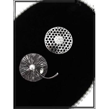 Broche magnétique - Feuille - Perle - Argent