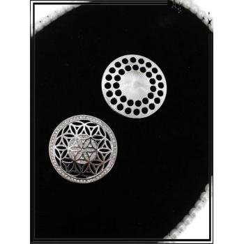 Broche magnétique - Rosaces - Strass - Argent