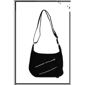 Sac à main - Double zip en diagonale - Noir