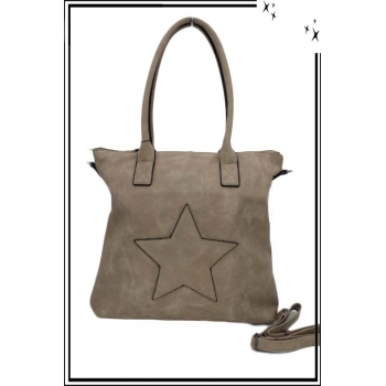 Sac à main - Etoile strass - Taupe