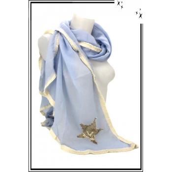 Foulard - Etole - Losange - Etoile sequin - Pastel - Bleu