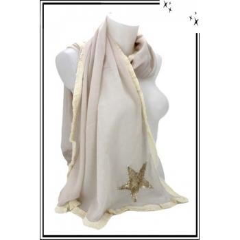 Foulard - Etole - Losange - Etoile sequin - Pastel - Beige