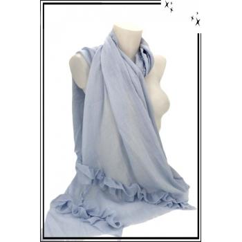 Foulard - Etole - Frises pompons - Pastel - Bleu