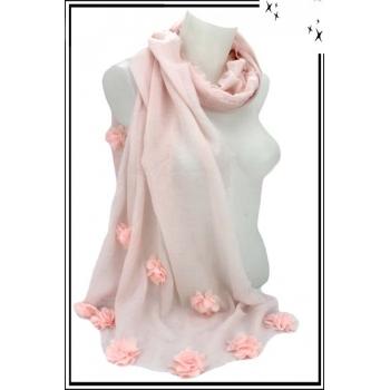 Foulard - Etole - Fleurs pompons - Pastel - Rose poudré