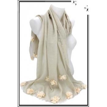 Foulard - Etole - Fleurs pompons - Pastel - Beige