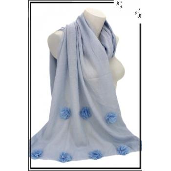 Foulard - Etole - Fleurs pompons - Pastel - Bleu