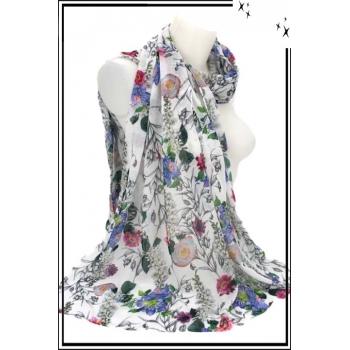Foulard - Fleuri - Touche coton - Fond pastel - Blanc