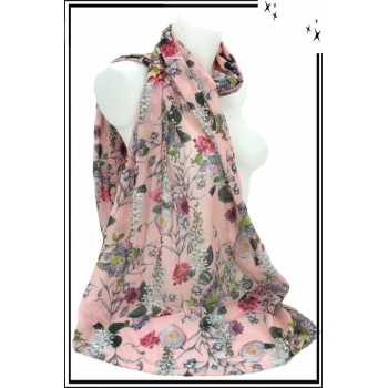 Foulard - Fleuri - Touche coton - Fond pastel - Rose poudré