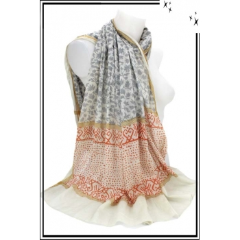 Foulard - Fleuri - 100% Coton - Bi-color - Gris / Orange