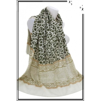 Foulard - Fleuri - 100% Coton - Bi-color - Kaki / Vert