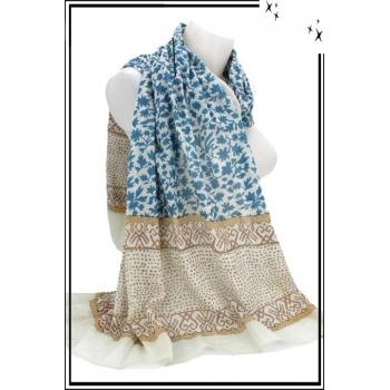 Foulard - Fleuri - 100% Coton - Bi-color - Bleu / Gris