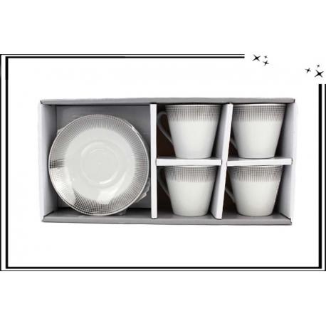 Lot de 4 tasses et soucoupes - Petits ronds argent