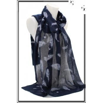 Foulard - Touche de coton - Plumes fines - Bleu marine