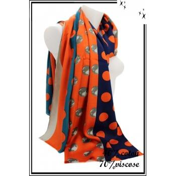 Foulard - Lunes / Pois - Bleu marine / Orange