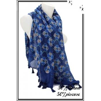 Foulard - Ronds entrelacés - Pompons - Bleu