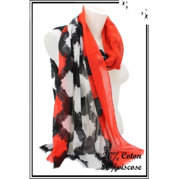 Foulard - Losanges flous - Bordure rouge
