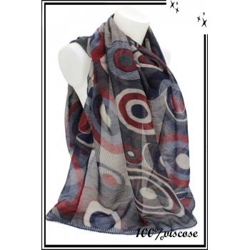 Foulard - Multi cercles et rayures - Bleu / Blanc / Rouge
