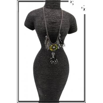 Collier - Plumes - Perles - Pampilles - Gris / Noir