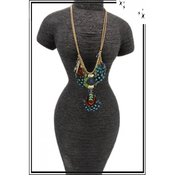 Collier - Plumes - Perles - Pampilles - Turquoise