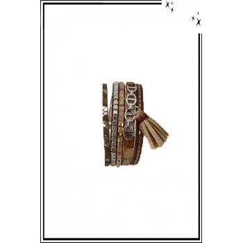 Bracelet manchette - Stella Green - 5 rangs - Chaînettes - Détails Python - Camel