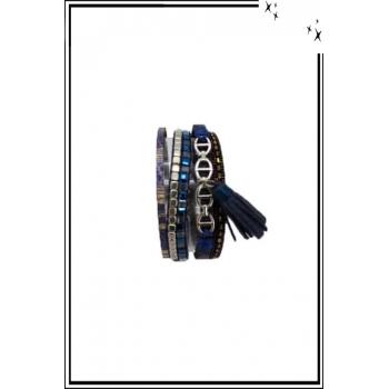 Bracelet manchette - Stella Green - 5 rangs - Chaînettes - Détails Python - Bleu marine