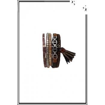 Bracelet manchette - Stella Green - 5 rangs - Chaînettes - Détails Python - Chocolat