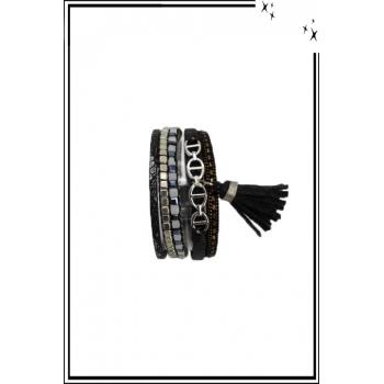 Bracelet manchette - Stella Green - 5 rangs - Chaînettes - Détails Python - Noir