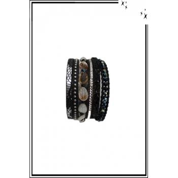 Bracelet manchette - Stella Green - 6 rangs - Feuilles nacrées - Perles, strass et clous - Noir
