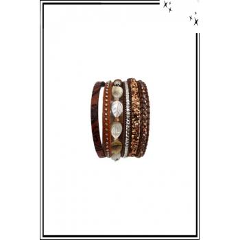 Bracelet manchette - Stella Green - 6 rangs - Feuilles nacrées - Perles, strass et clous - Marron