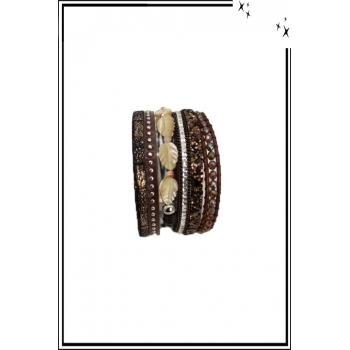 Bracelet manchette - Stella Green - 6 rangs - Feuilles nacrées - Perles, strass et clous - Chocolat