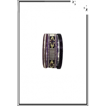 Bracelet manchette - Stella Green - 3 rangs - Perles Brésiliennes - Strass - Violet