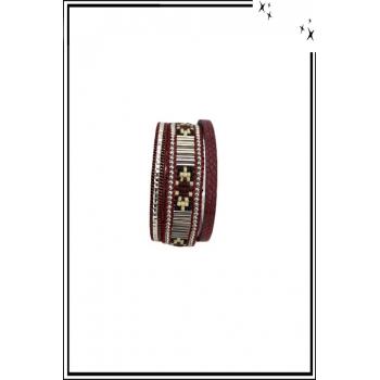 Bracelet manchette - Stella Green - 3 rangs - Perles Brésiliennes - Strass - Bordeaux