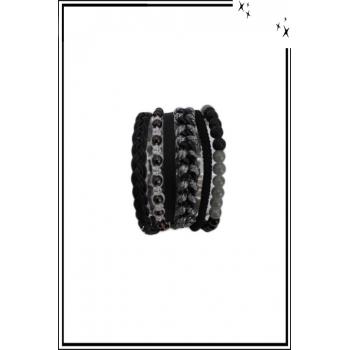 Bracelet manchette - 6 rangs - Perles, chaînette et détails brillants - Noir